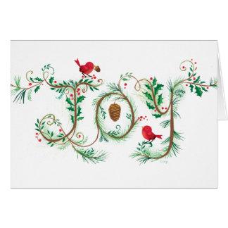 Custom Joy Christmas Card Red Birds