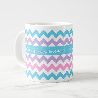 Custom Jumbo Coffee Mug, Multicolor Chevrons Large Coffee Mug