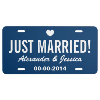 Custom Just married license plate for wedding car