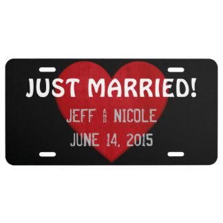 Custom Just Married License Plate Wedding Gift