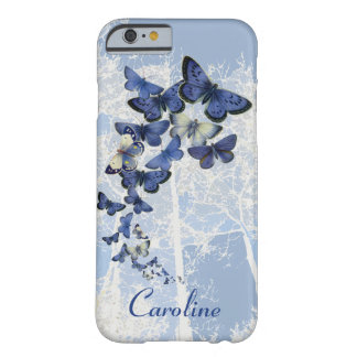 Custom kaleidoscope of blue butterflies barely there iPhone 6 case