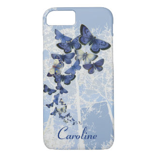 Custom kaleidoscope of blue butterflies iPhone 7 case
