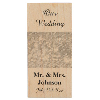 Custom keepsake wedding photo WOOD USB flash drive Wood USB 2.0 Flash Drive