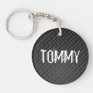 Custom Keychain - Diamond Plate Name Black