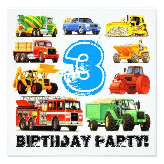 "Custom Kid's 3rd Birthday Construction Truck Party 5.25"" Square Invitation Card"