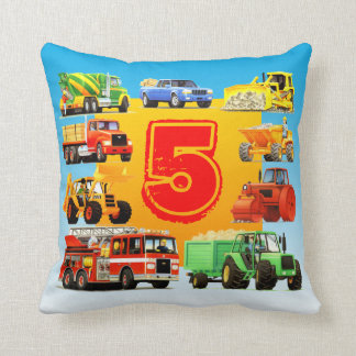 Custom Kids 5th Birthday Construction Trucks Throw Pillow