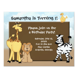 Custom Kids B-Day Invite, Jungle Animals Card