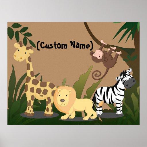 Custom Kids Baby Name JungleZoo Wall Art Poster