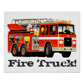 Custom Kid's Big Red Fire Truck Poster