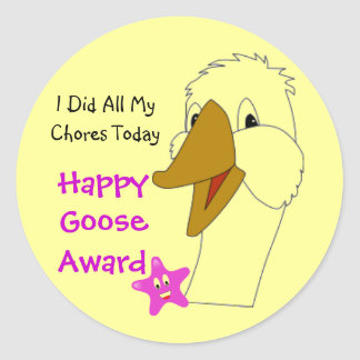 Custom Kids Happy Goose Did Chores Award Animal Classic Round Sticker