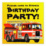 """Custom Kid's Red Fire Truck Birthday Party 5.25"""" Square Invitation Card"""
