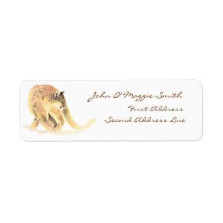 Custom Label Cougar, Puma, Mountain Lion, Animal Return Address Label