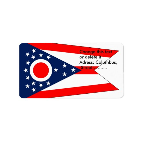Custom Label with Flag of Ohio, U.S.A.