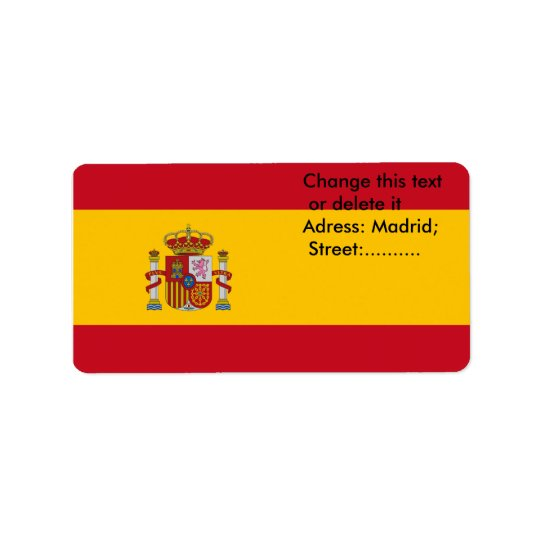 Custom Label with Flag of Spain