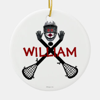 Custom Lacrosse Cartoon Ceramic Ornament
