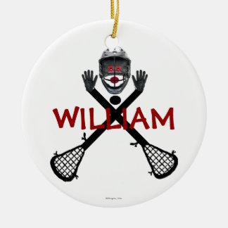 Custom Lacrosse Cartoon Round Ceramic Ornament