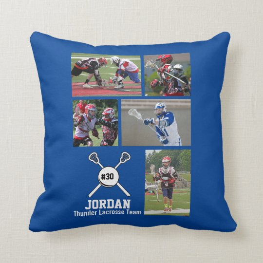 Custom Lacrosse Photo Collage Name Team Number Throw Pillow