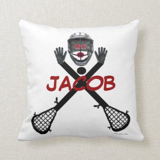 Custom Lacrosse Player Cartoon Throw Pillow