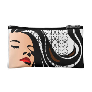 Custom Lady with Flowing Hair and Peace Signs Makeup Bags