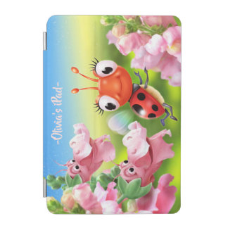 Custom Ladybug & friendly flowers iPad cover