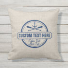 Custom Lake, Beach House & Boat Nautical Anchor Outdoor Pillow