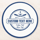 Custom Lake, Beach House & Boat Nautical Anchor Round Paper Coaster