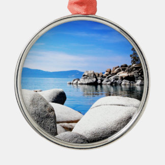 Custom Lake Tahoe Sand Harbor Photograph Metal Ornament