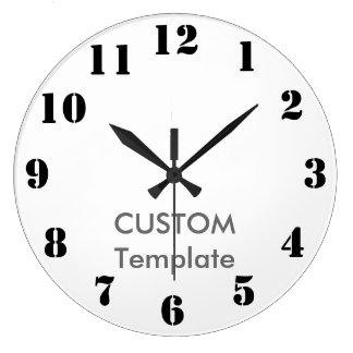 "Custom Large 10.75"" ROUND Wall Clock STENCIL Font"