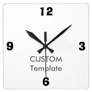 "Custom Large 10.75"" Square Wall Clock, AD LIB Font Square Wall Clock"