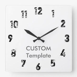 "Custom Large 10.75"" Square Wall Clock SHORTCUT"