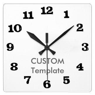 "Custom Large 10.75"" Square Wall Clock STEAK Font"