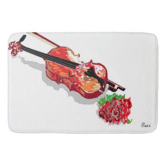 Custom Large Bath Mat Violin with a Rose