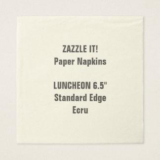 Custom Large ECRU Luncheon Paper Napkins Blank
