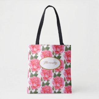 Custom Large Pink Roses Floral Art Tote Bag