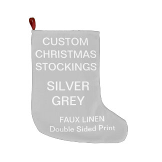 Custom Large SILVER GREY Christmas Stocking