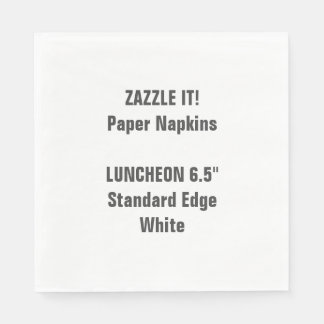 Custom Large WHITE Luncheon Paper Napkins Blank