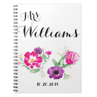 Custom Last Name Watercolor Flowers Notebook