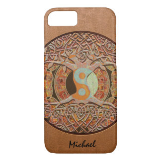 Custom Leather Look Yin Yang Tree of Life Case-Mate iPhone Case
