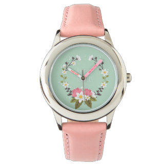 Custom Leather spring flowers Watch