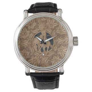 Custom leather tooled watch