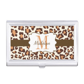 Custom Leopard Brown Tan Cream Business Card Case