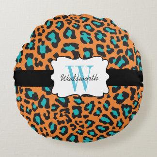 Custom Leopard Orange, Black, Aqua Round Pillow