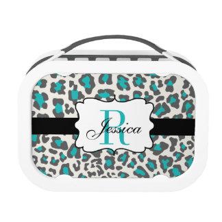 Custom Leopard Print Aqua Gray White Lunchbox