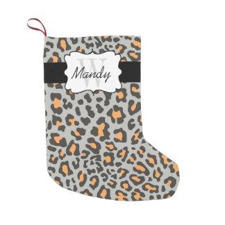 Custom Leopard Print Orange Black Gray Stocking Small Christmas Stocking