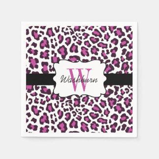 Custom Leopard Purple Black White Cocktail Napkin Paper Napkins