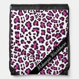 Custom Leopard Purple Black White Drawstring Bag