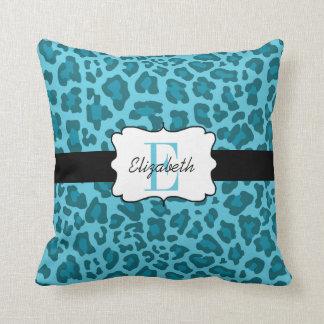 Custom Leopard Shades of Blue Throw Pillow