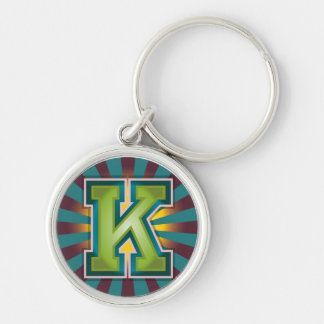 Custom Letter 'K' Initial Silver-Colored Round Keychain