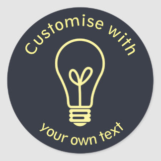 Custom Light Bulb Icon Classic Round Sticker
