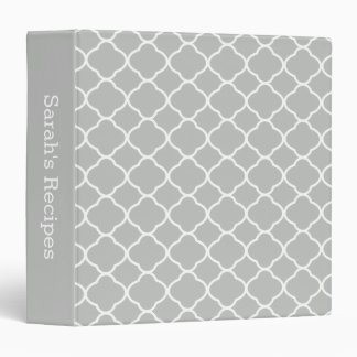 Custom Light Gray Quatrefoil Kitchen Recipe Binder